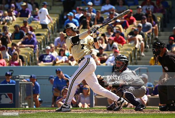 Dansby Swanson of Vanderbilt bats in the sixth inning against TCU during their Dodger Stadium College Baseball Classic at Dodger Stadium on March 8...