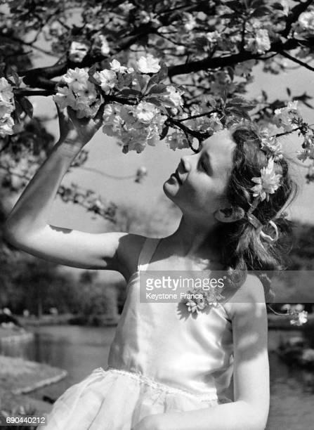 Danseuse de l'école de danse londonienne admire les fleurs des cerisiers à Regent Park Londres RoyaumeUni