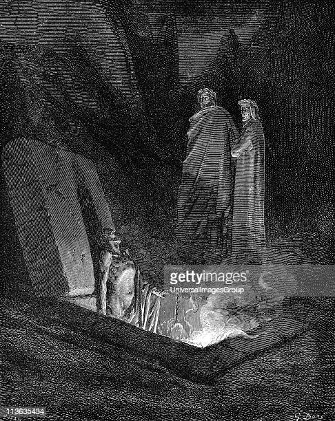 Dante Alighieri Italian poet Inferno first part of his Divina Commedia illustrated by Gustave Dore 1863 Canto X Dante keeping close to his guide...