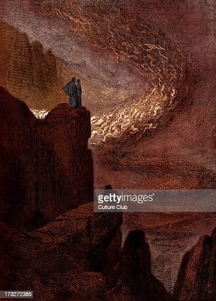 Dante Alighieri La Divina Commedia L'Inferno Canto V illustration by Gustave Doré for lines 3233 'The stormy blast of hell / With restless fury...