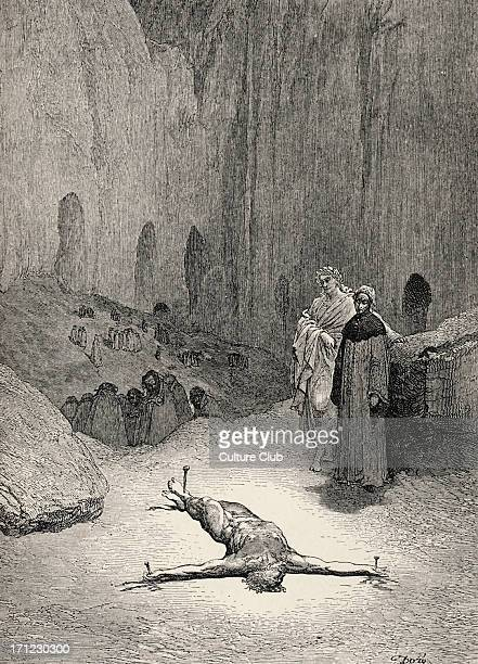 Dante Alighieri La Divina Commedia L'Inferno Canto XXIII illustration by Gustave Doré for lines 117120 'That pierced spirit whom intent Thou view'st...