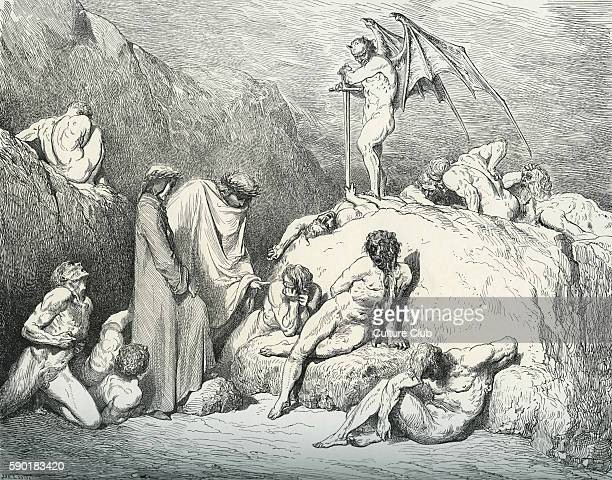 Dante Alighieri La Divina Commedia L'Inferno Canto XXVIII illustration by Gustave DorŽ for lines 4649 'Call thou to mind / Piero of Medicini if again...