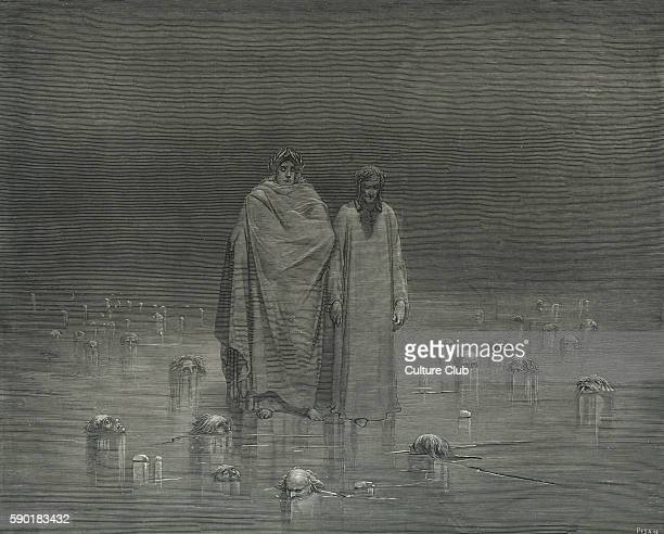 Dante Alighieri La Divina Commedia L'Inferno Canto XXXII illustration by Gustave DorŽ for lines 2022 'Look how thou walkest Take / Good heed thy...