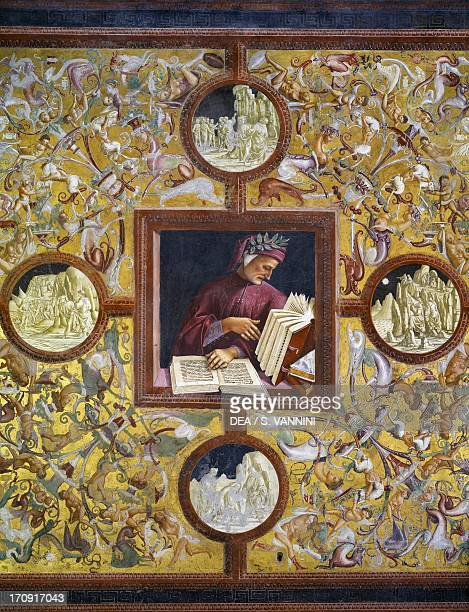 Dante Alighieri portrait from the Illustrious people cycle 14991504 by Luca Signorelli fresco lower wall panels of San Brizio Chapel right transept...