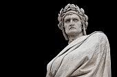 Dante Alighieri statue, by Enrico Pazzi, 1865. It is located in Piazza Santa Croce, next to Basilica of Santa Croce, Florence, Italy.