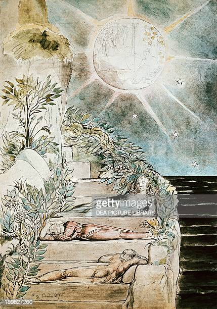 Dante and Statius sleep while Virgil watches scene inspired by the Divine Comedy by Dante Alighieri by William Blake Watercolour on paper 52x365 cm...