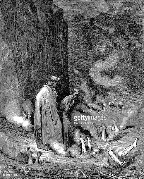 Dante and Virgil in the inferno 1863 Dante guided by Virgil in the third gulf of the eighth circle observes those guilty of simony suffering burning...