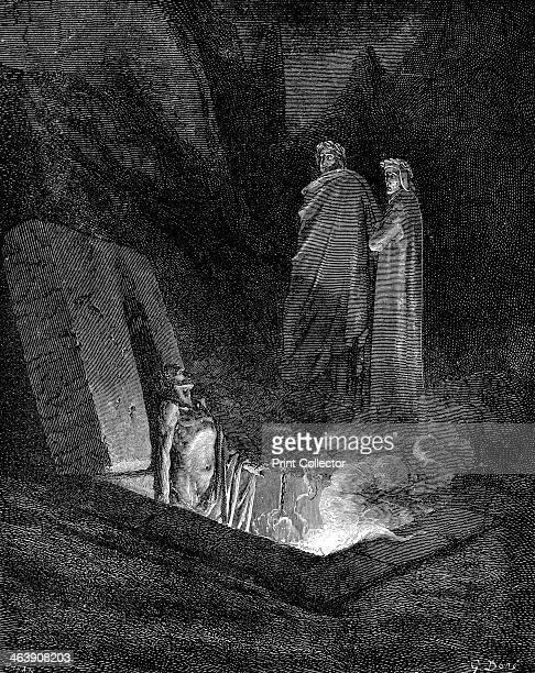 Dante and Virgil looking into the inferno 1863 Dante keeping close to his guide Virgil looks down at one of the sinners burning in hell in their open...