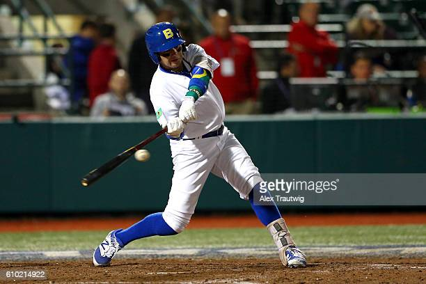 Dante Bichette Jr #19 of Team Brazil bats during Game 5 of the 2016 World Baseball Classic Qualifier at MCU Park on Saturday September 24 2016 in the...