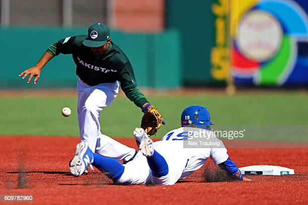 Dante Bichette Jr #19 of Team Brazil steals second base during Game 1 of the 2016 World Baseball Classic Qualifier at MCU Park on Thursday September...