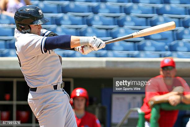 Dante Bichette Jr of the Yankees at bat during the Florida State League game between the Tampa Yankees and the Clearwater Threshers at Bright House...