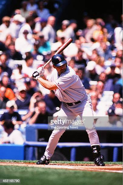 Dante Bichette of the Boston Red Sox bats against the New York Yankees at Yankee Stadium on April 22 2001 in the Bronx borough of New York City