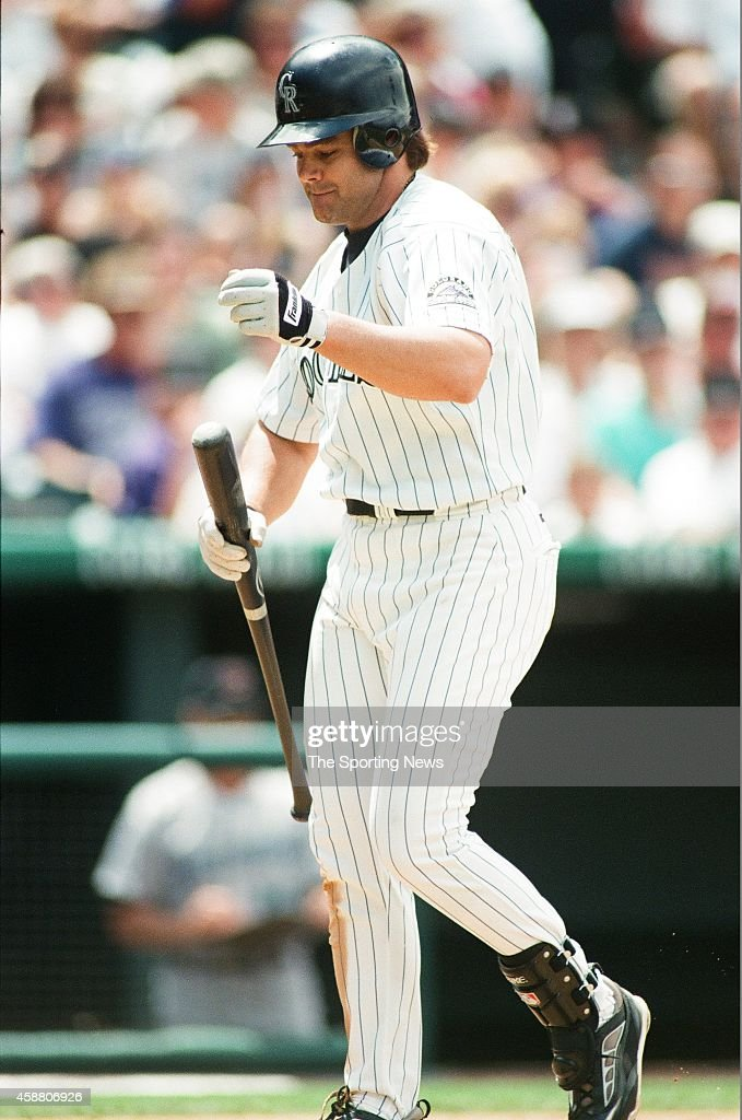Dante Bichette of the Colorado Rockies bats against the Arizona Diamondbacks at Coors Field on May 22, 1999 in Denver, Colorado.
