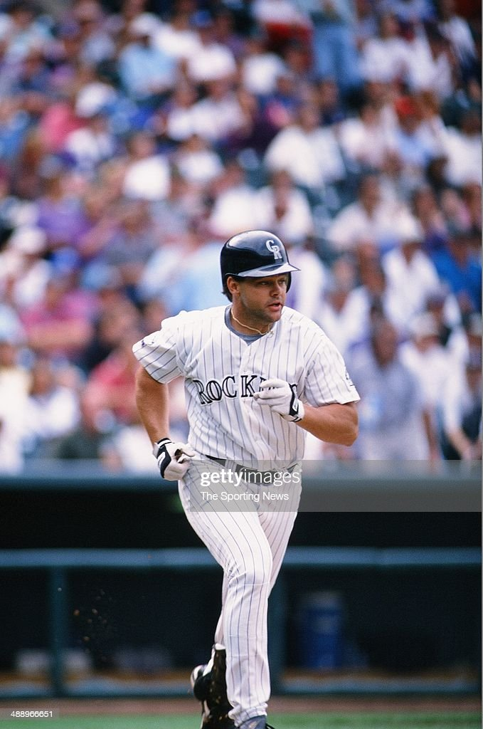 Dante Bichette of the Colorado Rockies bats against the Atlanta Braves at Coors Field on September 12, 1996 in Denver, Colorado. The Rockies defeated the Braves 16-8.