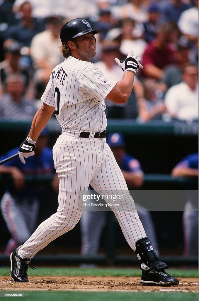 Dante Bichette of the Colorado Rockies bats against the Montreal Expos at Coors Field on August 15, 1999 in Denver, Colorado.