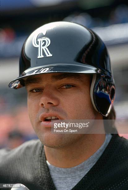 Dante Bichette of the Colorado Rockies looks into the camera during batting practice prior to a Major League Baseball game against the New York Mets...