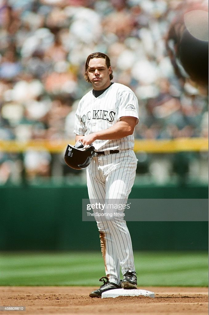 Dante Bichette of the Colorado Rockies looks on against the Arizona Diamondbacks at Coors Field on May 22, 1999 in Denver, Colorado.