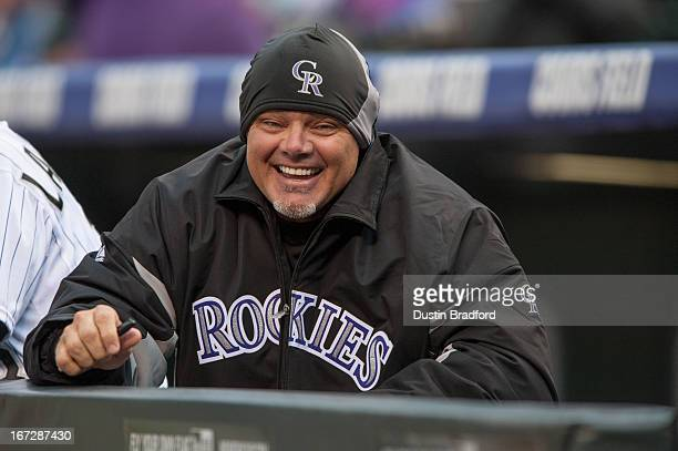 Dante Bichette of the Colorado Rockies smiles in the dugout before a game against the Arizona Diamondbacks at Coors Field on April 20 2013 in Denver...