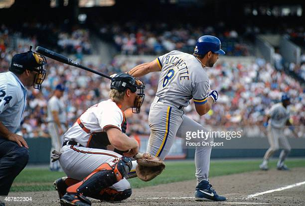 Dante Bichette of the Milwaukee Brewers bats against the Baltimore Orioles during an Major League Baseball game circa 1992 at Oriole Park at Camden...