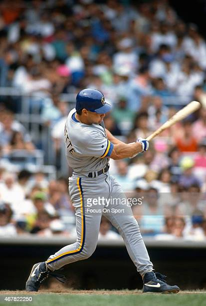 Dante Bichette of the Milwaukee Brewers bats against the New York Yankees during an Major League Baseball game circa 1991 at Yankee Stadium in the...