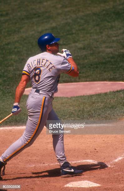 Dante Bichette of the Milwaukee Brewers swings at the pitch during an MLB game against the New York Yankees on May 23 1992 at Yankee Stadium in the...