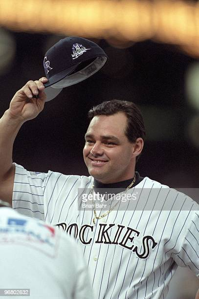 Dante Bichette tips his cap during player introductions before the 69th MLB AllStar Game at Coors Field on July 7 1998 in Denver Colorado