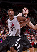 Dante Cunningham and Luke Babbit of the Portland Trail Blazers fight for position during the team's open scrimmage or 'Fan Fest' October 1 2010 at...