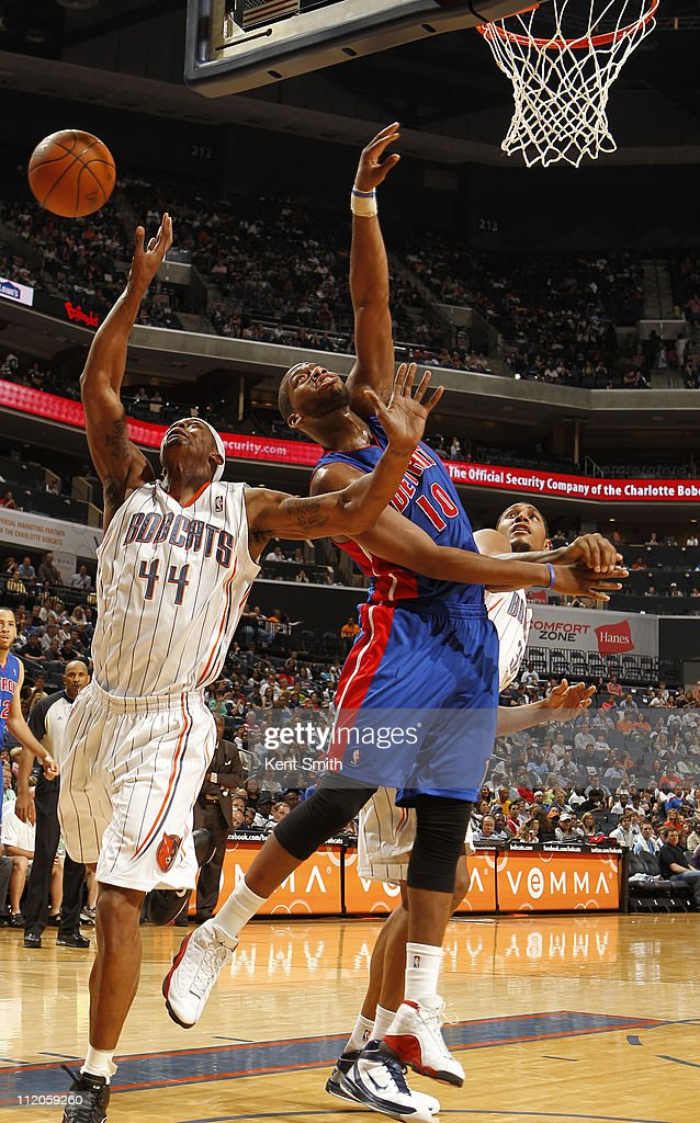 <a gi-track='captionPersonalityLinkClicked' href=/galleries/search?phrase=Dante+Cunningham&family=editorial&specificpeople=683729 ng-click='$event.stopPropagation()'>Dante Cunningham</a> #44 of the Charlotte Bobcats defends the shot of <a gi-track='captionPersonalityLinkClicked' href=/galleries/search?phrase=Greg+Monroe&family=editorial&specificpeople=5042440 ng-click='$event.stopPropagation()'>Greg Monroe</a> #10 of the Detroit Pistons on April 10, 2011 at Time Warner Cable Arena on the practice court in Charlotte, North Carolina.