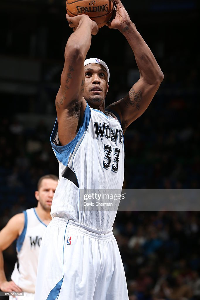 <a gi-track='captionPersonalityLinkClicked' href=/galleries/search?phrase=Dante+Cunningham&family=editorial&specificpeople=683729 ng-click='$event.stopPropagation()'>Dante Cunningham</a> #33 of the Minnesota Timberwolves aims for a free throw during the game between the Minnesota Timberwolves and the Portland Trail Blazers on February 4, 2013 at Target Center in Minneapolis, Minnesota.