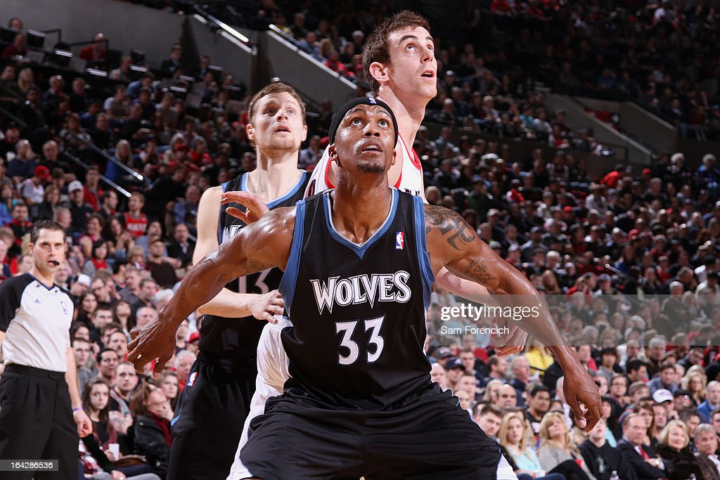 <a gi-track='captionPersonalityLinkClicked' href=/galleries/search?phrase=Dante+Cunningham&family=editorial&specificpeople=683729 ng-click='$event.stopPropagation()'>Dante Cunningham</a> #33 of the Minnesota Timberwolves awaits a rebound during the game against the Portland Trail Blazers on March 2, 2013 at the Rose Garden Arena in Portland, Oregon.