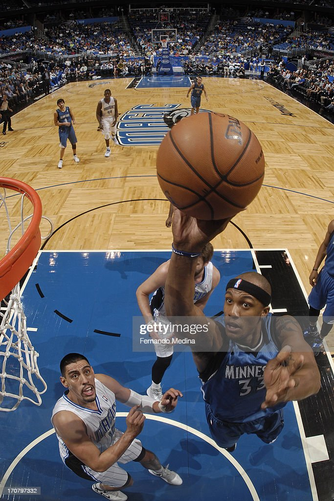 <a gi-track='captionPersonalityLinkClicked' href=/galleries/search?phrase=Dante+Cunningham&family=editorial&specificpeople=683729 ng-click='$event.stopPropagation()'>Dante Cunningham</a> #33 of the Minnesota Timberwolves drives to the basket against the Orlando Magic on December 17, 2012 at Amway Center in Orlando, Florida.