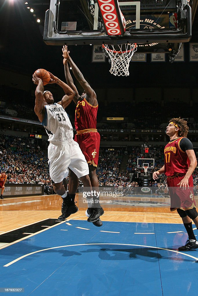 Dante Cunningham #33 of the Minnesota Timberwolves drives to the basket against the Cleveland Cavaliers on November 13, 2013 at Target Center in Minneapolis, Minnesota.