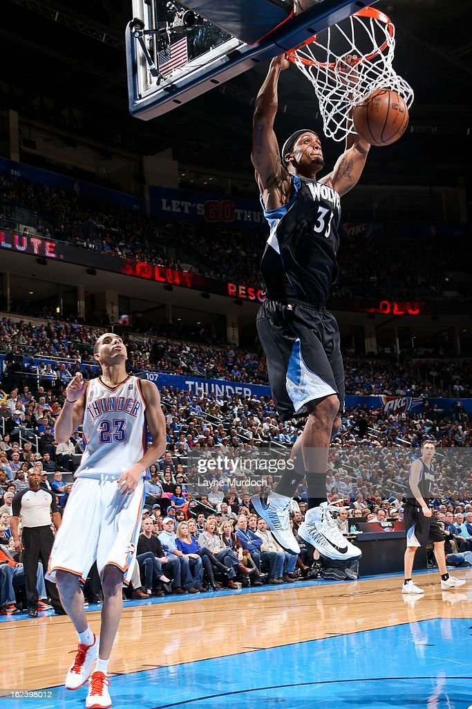 <a gi-track='captionPersonalityLinkClicked' href=/galleries/search?phrase=Dante+Cunningham&family=editorial&specificpeople=683729 ng-click='$event.stopPropagation()'>Dante Cunningham</a> #33 of the Minnesota Timberwolves dunks against the Oklahoma City Thunder on February 22, 2013 at the Chesapeake Energy Arena in Oklahoma City, Oklahoma.