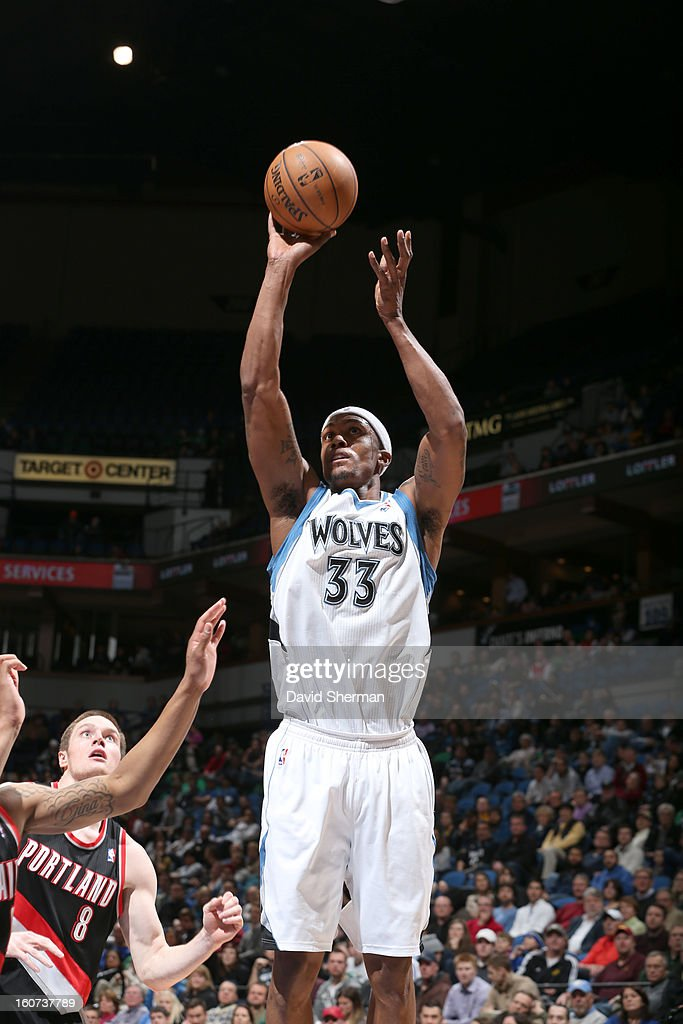 <a gi-track='captionPersonalityLinkClicked' href=/galleries/search?phrase=Dante+Cunningham&family=editorial&specificpeople=683729 ng-click='$event.stopPropagation()'>Dante Cunningham</a> #33 of the Minnesota Timberwolves goes for a jump shot during the game between the Minnesota Timberwolves and the Portland Trail Blazers on February 4, 2013 at Target Center in Minneapolis, Minnesota.