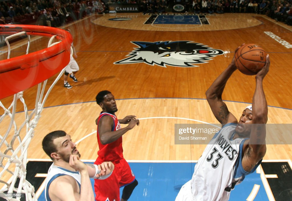 <a gi-track='captionPersonalityLinkClicked' href=/galleries/search?phrase=Dante+Cunningham&family=editorial&specificpeople=683729 ng-click='$event.stopPropagation()'>Dante Cunningham</a> #33 of the Minnesota Timberwolves goes to the basket during the game between Philadelphia 76ers and the Minnesota Timberwolves on February 20, 2013 at Target Center in Minneapolis, Minnesota.