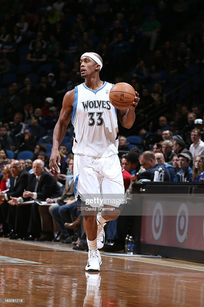 Dante Cunningham #33 of the Minnesota Timberwolves handles the ball against the Washington Wizards on March 6, 2013 at Target Center in Minneapolis, Minnesota.