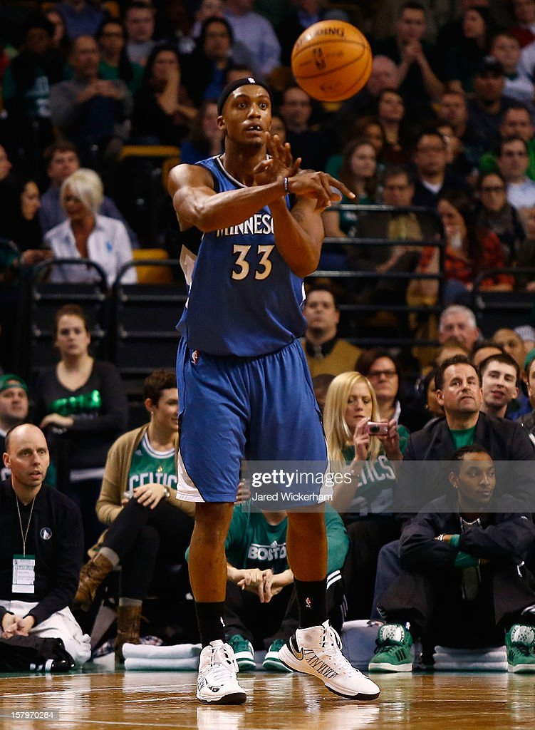 Dante Cunningham #33 of the Minnesota Timberwolves plays against the Boston Celtics during the game on December 5, 2012 at TD Garden in Boston, Massachusetts.