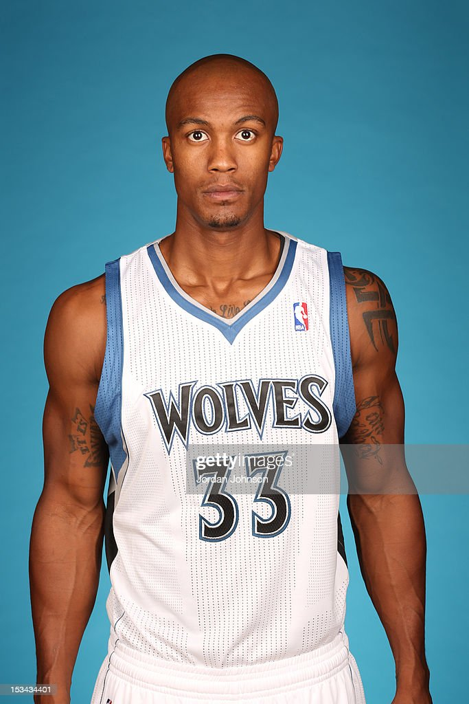 <a gi-track='captionPersonalityLinkClicked' href=/galleries/search?phrase=Dante+Cunningham&family=editorial&specificpeople=683729 ng-click='$event.stopPropagation()'>Dante Cunningham</a> #33 of the Minnesota Timberwolves poses for a portrait during 2012 NBA Media Day on October 1, 2012 at Target Center in Minneapolis, Minnesota.