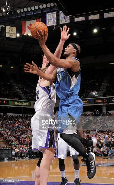 Dante Cunningham of the Minnesota Timberwolves puts up a shot against the Sacramento Kings on April13 2014 at Sleep Train Arena in Sacramento...