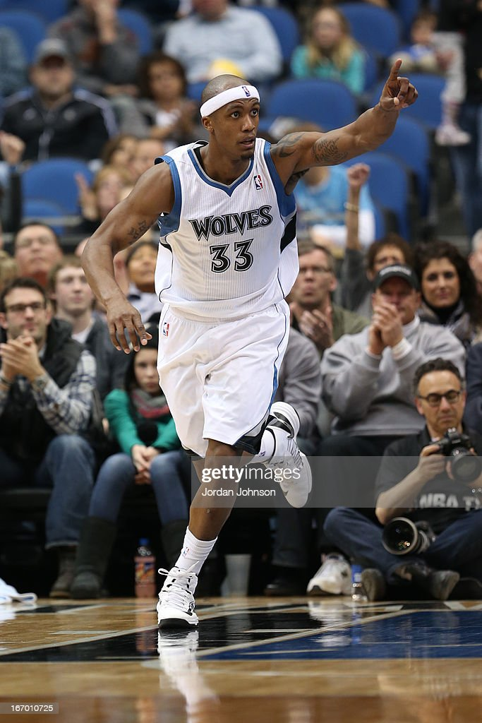 <a gi-track='captionPersonalityLinkClicked' href=/galleries/search?phrase=Dante+Cunningham&family=editorial&specificpeople=683729 ng-click='$event.stopPropagation()'>Dante Cunningham</a> #33 of the Minnesota Timberwolves runs up the court against the Phoenix Suns on April 13, 2013 at Target Center in Minneapolis, Minnesota.