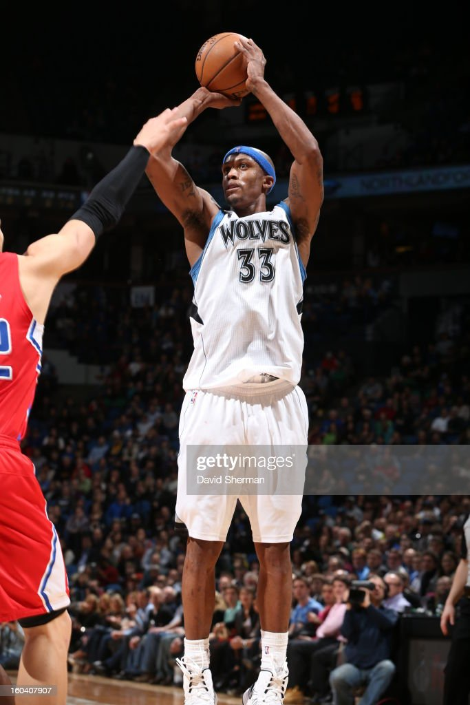 <a gi-track='captionPersonalityLinkClicked' href=/galleries/search?phrase=Dante+Cunningham&family=editorial&specificpeople=683729 ng-click='$event.stopPropagation()'>Dante Cunningham</a> #33 of the Minnesota Timberwolves shoots against the Los Angeles Clippers on January 30, 2013 at Target Center in Minneapolis, Minnesota.