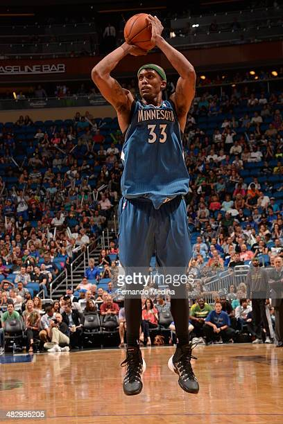 Dante Cunningham of the Minnesota Timberwolves shoots against the Orlando Magic on April 5 2014 at Amway Center in Orlando Florida NOTE TO USER User...