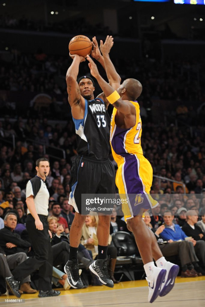 <a gi-track='captionPersonalityLinkClicked' href=/galleries/search?phrase=Dante+Cunningham&family=editorial&specificpeople=683729 ng-click='$event.stopPropagation()'>Dante Cunningham</a> #33 of the Minnesota Timberwolves takes a shot against the Los Angeles Lakers at Staples Center on February 28, 2013 in Los Angeles, California.