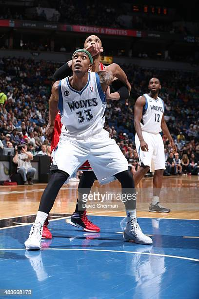 Dante Cunningham of the Minnesota Timberwolves waits for the rebound against the Chicago Bulls during the game on April 9 2014 at Target Center in...