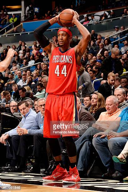 Dante Cunningham of the New Orleans Pelicans attempts a free throw against the Orlando Magic on February 20 2015 at Amway Center in Orlando Florida...