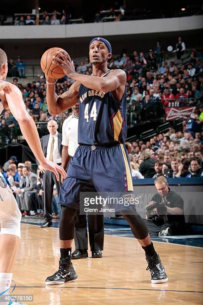Dante Cunningham of the New Orleans Pelicans defends the ball against the Dallas Mavericks during the game on December 10 2014 at the American...