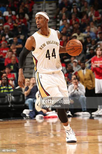 Dante Cunningham of the New Orleans Pelicans handles the ball against the Sacramento Kings on March 27 2015 at Smoothie King Center in New Orleans...