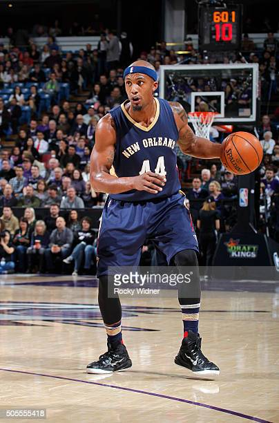Dante Cunningham of the New Orleans Pelicans handles the ball against the Sacramento Kings on January 13 2016 at Sleep Train Arena in Sacramento...