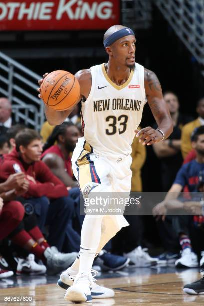 Dante Cunningham of the New Orleans Pelicans handles the ball against the Cleveland Cavaliers on October 28 2017 at the Smoothie King Center in New...