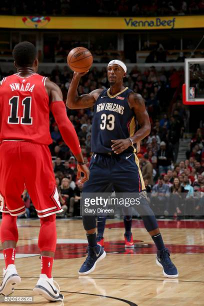 Dante Cunningham of the New Orleans Pelicans handles the ball against the Chicago Bulls on November 4 2017 at the United Center in Chicago Illinois...